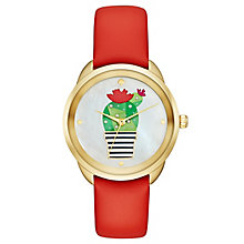 Kate Spade Frida Yellow Gold Tone Cactus Strap Watch - Product number 8037949
