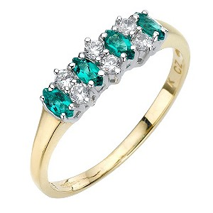 9ct Yellow Gold Created Emerald
