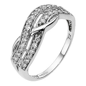 9ct White Gold Double Row Cross Over Cubic Zirconia Ring