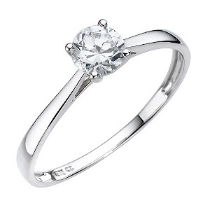 9ct White Gold Cubic Zirconia 1/2 Carat Look Solitaire Ring