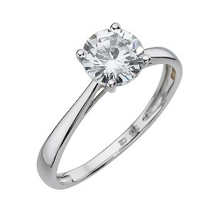 9ct White Gold Cubic Zirconia 1 Carat Look Solitaire Ring