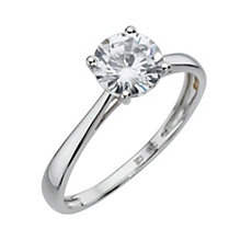 9ct White Gold Cubic Zirconia 1 Carat Look Solitaire Ring - Product number 8039739