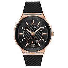 Bulova Ladies' Curv Black Leather Strap Watch - Product number 8043574