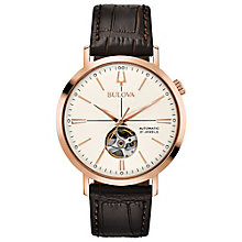 Bulova Men's Automatic Brown Leather Strap Watch - Product number 8043655