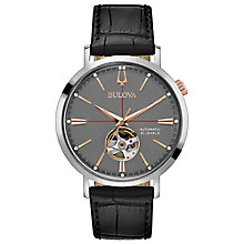 Bulova Men's Automatic Black Leather Strap Watch - Product number 8043701