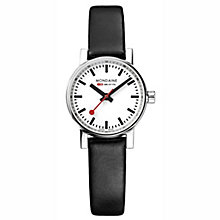 Mondaine Ladies' Evo Petite Black Leather Strap Watch - Product number 8043825