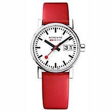 Mondaine Ladies' Evo Big Red Leather Strap Watch - Product number 8043884