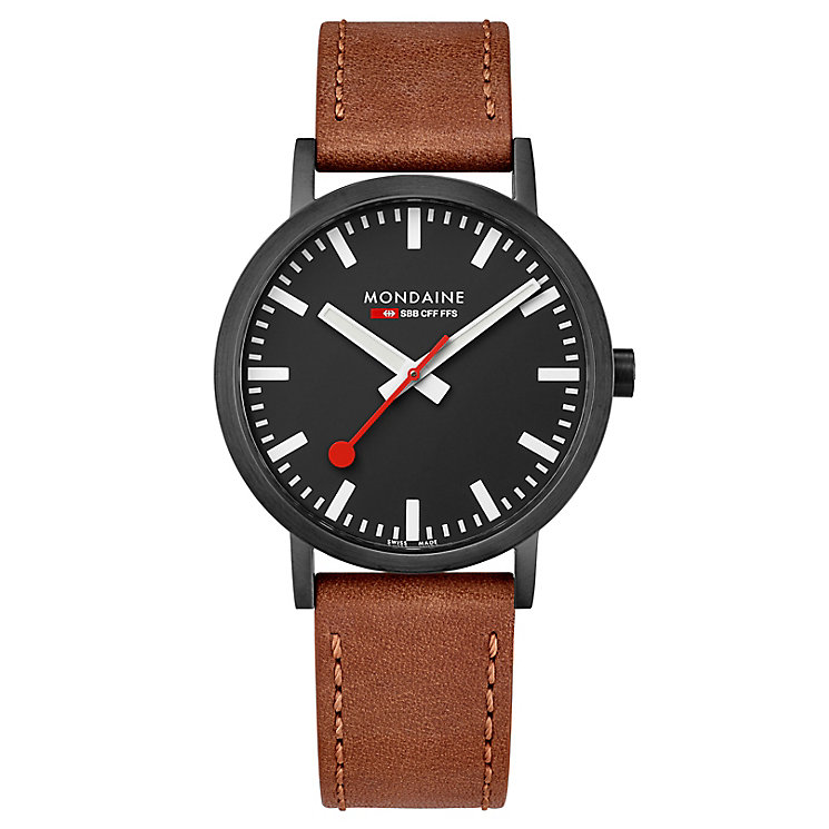 Mondaine Men's Simply Elegant Brown Leather Strap Watch - Product number 8043973