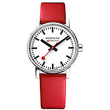 Mondaine Men's Evo2 Red Leather Strap Watch - Product number 8044007