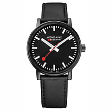 Mondaine Men's Evo2 Black Leather Strap Watch - Product number 8044058