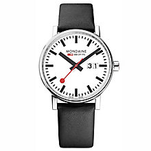 Mondaine Men's Evo Big Black Leather Strap Watch - Product number 8044066
