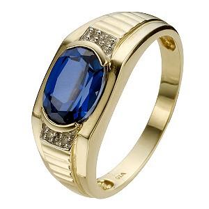 9ct Yellow Gold Created Sapphire