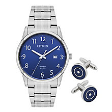 Citizen Men's Steel Bracelet Watch & Cufflink Set RRP £169 - Product number 8048800
