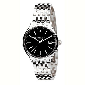 Eternal Silver men's 1 diamond black dial watch - Product number 8051941
