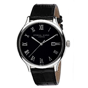 Eternal Silver men's round black dial watch - Product number 8051976