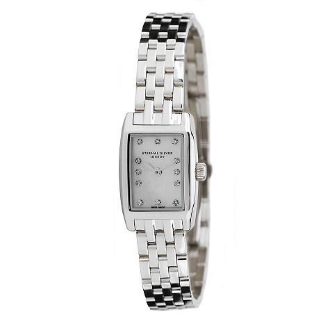 Eternal Silver ladies' 12 diamond rectangular dial watch - RT2301LB