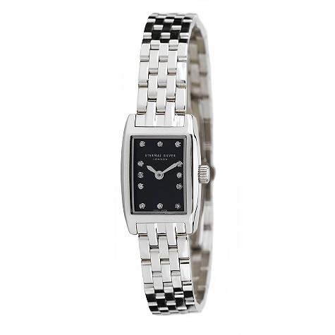Eternal Silver ladies' 12 diamond rectangular dial watch - RT2302LB