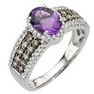 LeVian 14CT Gold 0.50CT Chocolate Diamond & Amethyst Ring - Product number 8052417