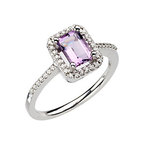 9ct white gold amethyst and diamond ring - Product number 8053006