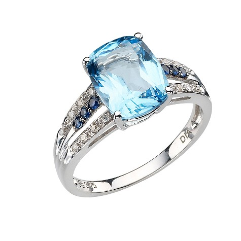 9ct white gold blue topaz, diamond and sapphire set ring