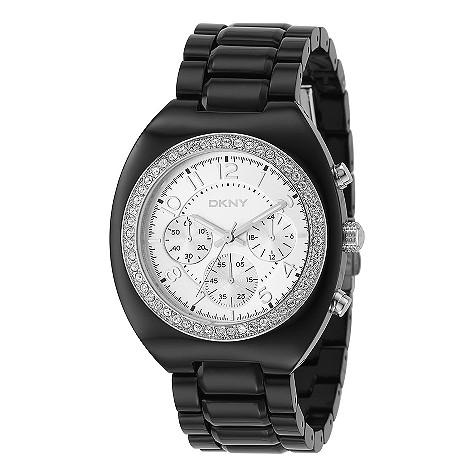 DKNY black plastic chronograph watch