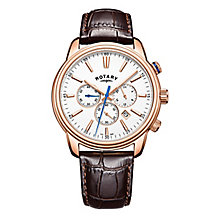 Rotary Monaco Men's Rose Gold Plated Brown Strap Watch - Product number 8069948