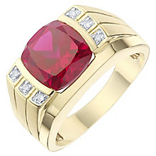9ct Yellow Gold Created Non-Burmese Ruby Ring - Product number 8071608