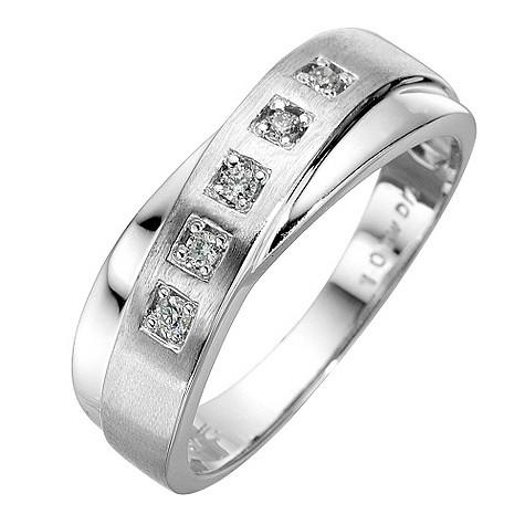 9ct white gold cross over diamond ring