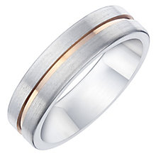 Titanium & Rose Gold Plated Matt Groove Band - Product number 8073422