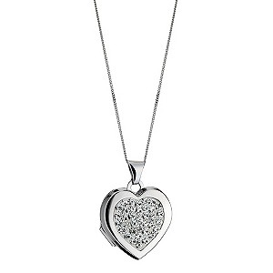 9ct White Gold Crystal Heart Locket