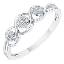 Sterling Silver Diamond Three Cluster Ring - Product number 8078912