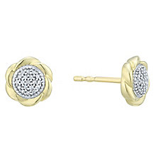 9 Carat Yellow Gold Diamond Cluster Flower Earrings - Product number 8080062