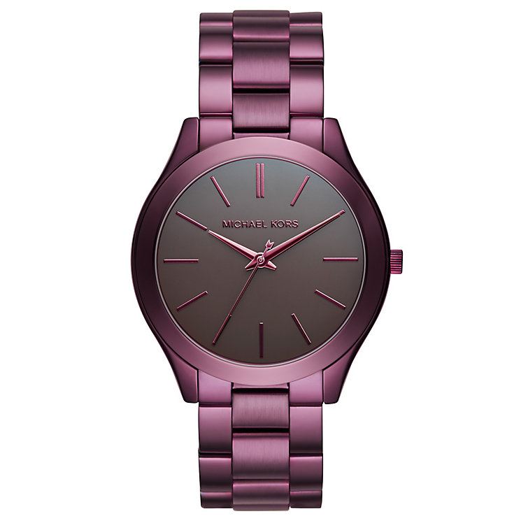 Michael Kors Runway Ladies' Ion Plated Plum Bracelet Watch - Product number 8080623