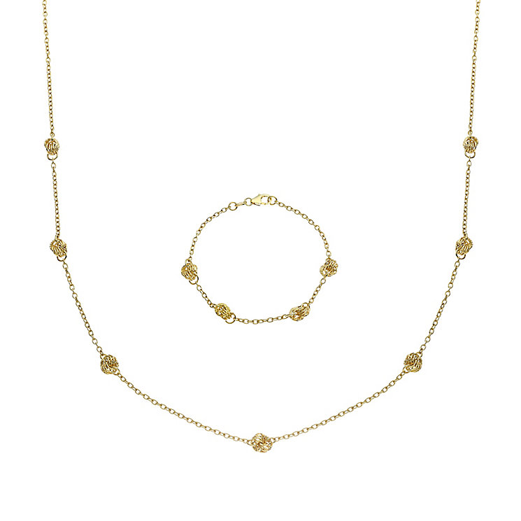 9ct Yellow Gold Knot Necklace & Bracelet Set - Product number 8081379