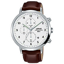 Lorus Men's Brown Leather Strap Chronograph Watch RRP 89.99 - Product number 8081476