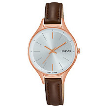 Pulsar Ladies' Rose Gold Brown Strap Watch - Product number 8081530