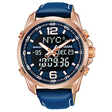 Pulsar Men's Rose Gold Analogue & Digital Blue Strap Watch - Product number 8081646