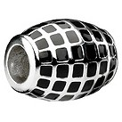 Eternal Silver and black enamel striped barrel bead - Product number 8083746