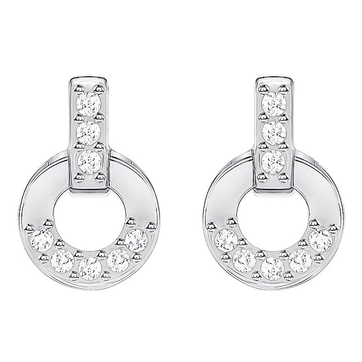 Swarovski Rhodium Plated Circle Small Drop Earrings - Product number 8085137