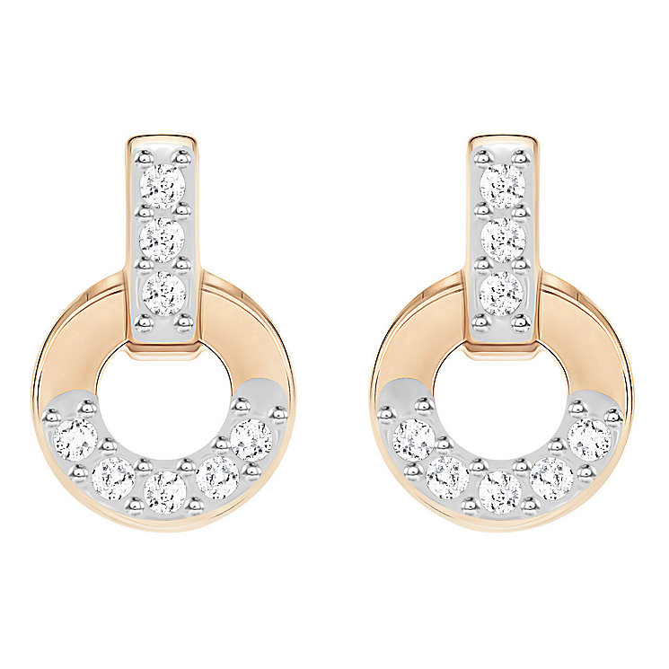 Swarovski Rose Gold Plated Circle Small Earrings - Product number 8085234