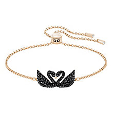 Swarovski Black Swan Rose Gold Plated Adjustable Bracelet - Product number 8085463