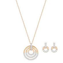Swarovski Rose Gold Plated Circle Necklace & Earrings Set - Product number 8085943