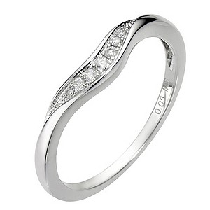 18ct White Gold U Shaped Diamond Ring