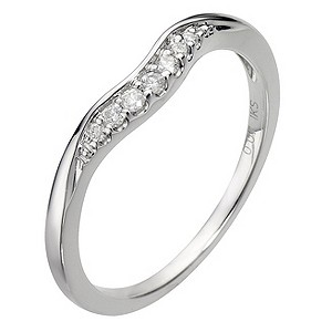9ct White Gold U Shaped Diamond Ring