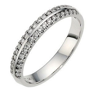 18ct White Gold 1/4ct Diamond 2 Row Ring