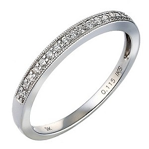 9ct White Gold Pave Diamond Eternity Ring