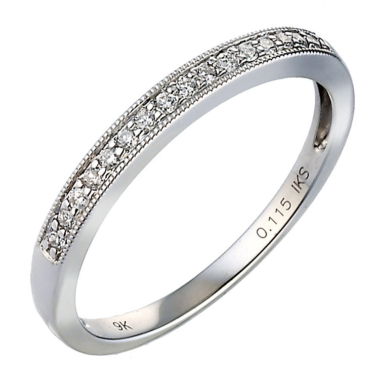 9ct White Gold Pave Diamond Eternity Ring - Product number 8092354
