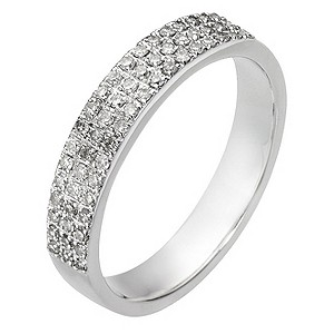 9ct White Gold Quarter Carat 3 Row Diamond Ring