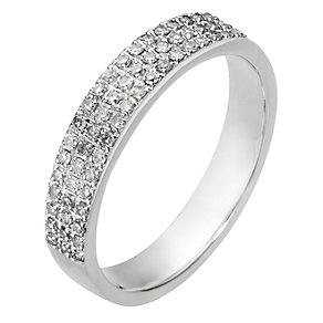9ct White Gold Quarter Carat 3 Row Diamond Ring - Product number 8095744