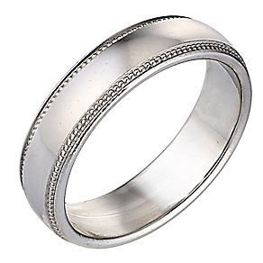 Palladium Luxury Court Ring Millgrain 5mm - Product number 8097836